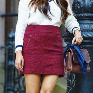 LOFT Maroon Tweed Skirt Sz 4